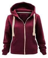 Just Me Women Ladies Plain Long Sleeve Hood Drawstring Gym Casual Wear Zip Hoodie Sweatshirt Plus