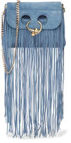 J.W.Anderson Pierce Mini Fringed Suede Shoulder Bag - Blue