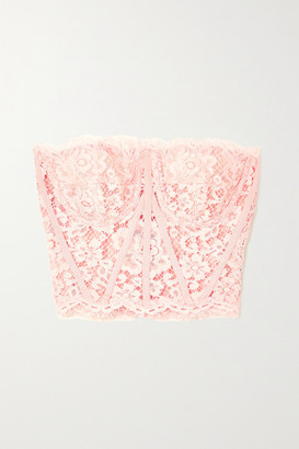 Dolce & Gabbana Grosgrain-trimmed Cotton-blend Corded Lace Bustier Top - Pink