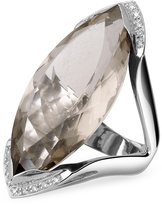 Forzieri Smokey Quartz and Diamond White Gold Fashion Ring