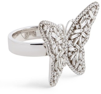Suzanne Kalan White Gold and Diamond Butterfly Ring