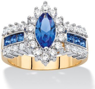 PalmBeach Jewelry 7/8ct TCW Marquise-cut Blue Crystal and Cubic Zirconia Halo Cocktail Ring 14k Yellow Goldp