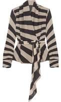 Gareth Pugh Belted Striped Stretch-Wool Top