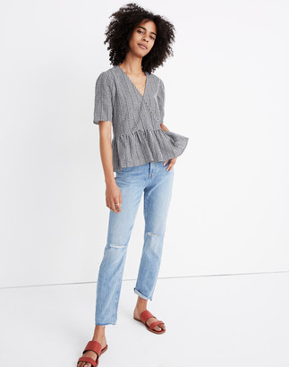 Madewell Crossover Peplum Top in Textured Gingham Check