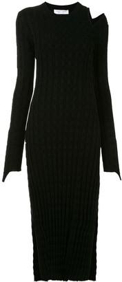 Proenza Schouler White Label Velvet Checkerboard Ribbed Dress