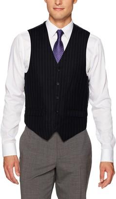 Steve Harvey Men's Chalk Stripe Regular Fit Suit Separate Vest