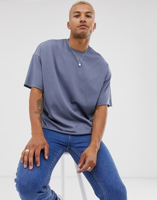 Asos DESIGN organic heavyweight oversized fit t-shirt with crew neck and raw edges in gray