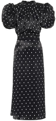 Rotate by Birger Christensen Dawn polka-dot satin midi dress