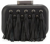 Badgley Mischka Julia Tasseled Leather Evening Clutch Bag, Black
