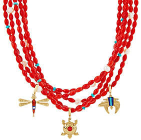 American West Red Coral Bead Charm StatementNecklace