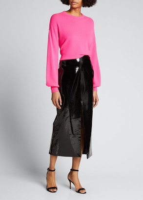 Alice + Olivia Ansley Blouson-Sleeve Cropped Pullover Sweater