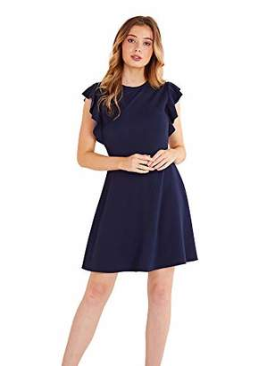 Yumi Women's Side Ruffle Skater Dress Casual,8