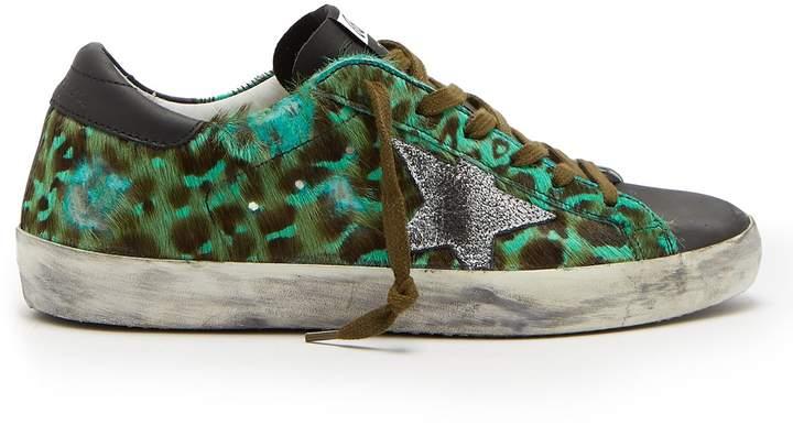 Golden Goose Superstar leopard-print calf-hair low-top trainers