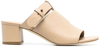 Del Carlo Buckled Strap Leather Mules