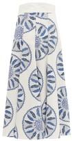 Three Graces London X Zandra Rhodes Amelina Leaf-print Cotton Skirt - Womens - Blue White