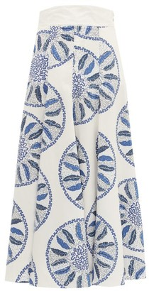 Three Graces London X Zandra Rhodes Amelina Leaf-print Cotton Skirt - Womens - Blue White