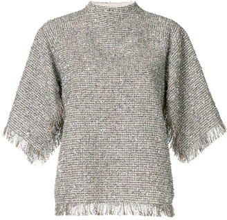 GOEN.J Metallic Tweed Frayed Top
