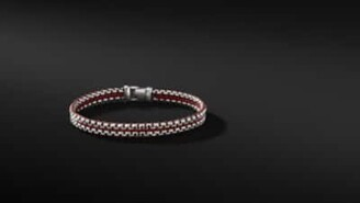 David Yurman Woven Box Chain Bracelet In Red