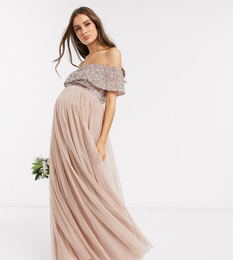Maya Maternity Bridesmaid bardot maxi tulle dress with tonal delicate sequins in taupe blush-Brown