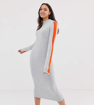 Asos Tall DESIGN Tall high neck midi dress with tipping-Grey