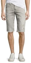 True Religion Rocco Distressed Denim Cutoff Shorts, Light Rail