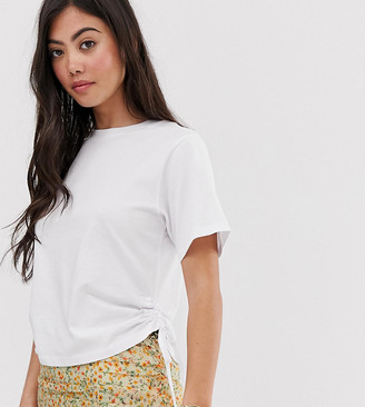 Asos DESIGN Petite t-shirt with ruched side-White