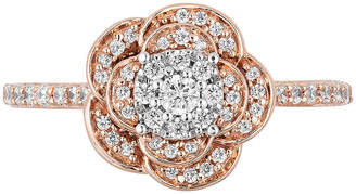 ENCHANTED FINE JEWELRY BY DISNEY Enchanted Disney Fine Jewelry Womens 1/2 CT. T.W. Genuine Diamond 10K Rose Gold Round 'Beauty and the Beast' Promise Ring
