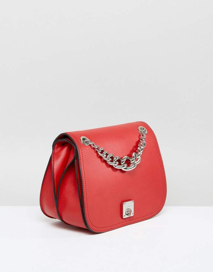 Fiorelli Red Saddle Bag With Chain Detail