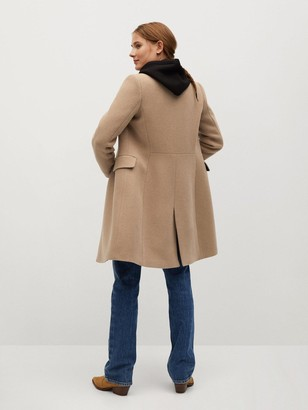 MANGO Wool Gold Double Breasted Coat - Brown