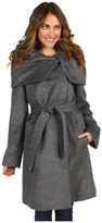 Cole Haan - Suri Alpaca Hidden Zip Belted Coat (Grey) - Apparel