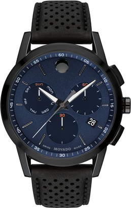 Movado Museum Chronograph Leather Strap Watch, 43mm