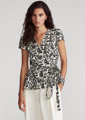 Ralph Lauren Floral Linen Wrap Blouse