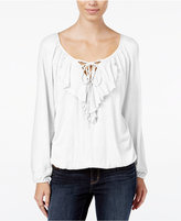 American Rag Ruffled Lace-Up Peasant Blouse, Only at Macy's