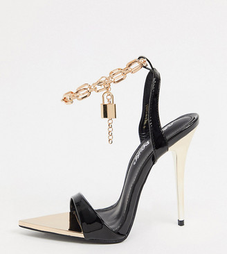 Public Desire Wide Fit Triumph heeled sandals with padlock anklet in black