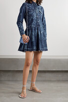 Thumbnail for your product : RED Valentino Frayed Pleated Printed Denim Mini Dress - Blue