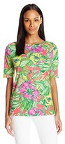 Caribbean Joe Women's Floral-Printed Boatneck T-Shirt