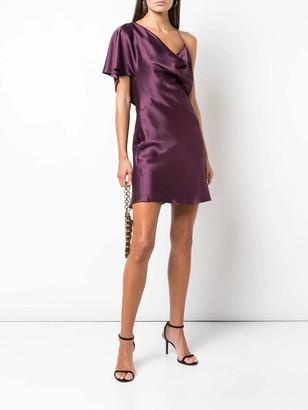 Cushnie One-shoulder Silk Dress Purple