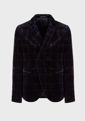 Emporio Armani Double-Breasted, Glen-Plaid Velvet Jacket