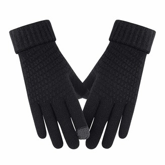 TIFIY Women Knit Gloves Plush Thickened Touchscreen On-Slip Soft Keep Warm Finger Mitter for Cold Weather