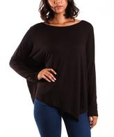 La Femme Black Drop-Shoulder Asymmetric-Hem Top