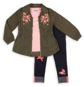 Little Lass Little Girl's Floral Jacket, Top & Leggings Set