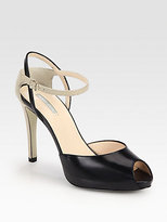 Giorgio Armani Leather & Lizard-Embossed Leather Ankle Strap Pumps