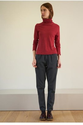 Ani Cus Linen Top - S / Red - Red