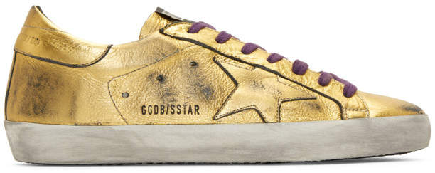 Golden Goose Gold Leather Superstar Sneakers