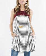 Lydiane Women's Blouses DK - Dark Burgundy Color Block Stripe Sleeveless Pocket Tunic - Women