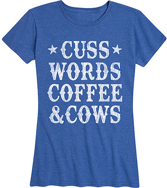 Instant Message Women's Women's Tee Shirts HEATHER - Heather Royal Blue 'Coffee & Cows' Relaxed-Fit Tee - Women