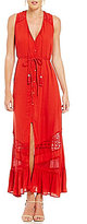 Band of Gypsies Button Front Lace Inset Maxi Dress