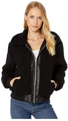 Blank NYC Sherpa Crop Jacket with Faux Leather Center (Dark Matcha) Women's Clothing