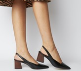 Office Muse Point Slingback Heels Black Groucho Leather