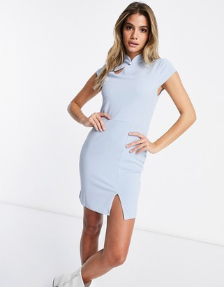 I SAW IT FIRST scuba crepe asym split bodycon dress in blue